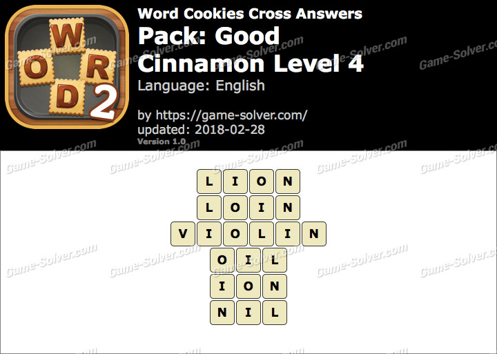 Word Cookies Cross Good-Cinnamon Level 4 Answers