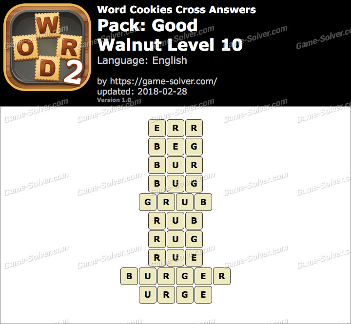 Word Cookies Cross Good-Walnut Level 10 Answers