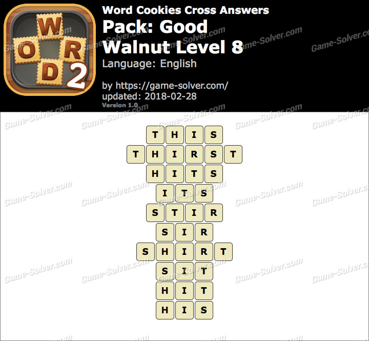 Word Cookies Cross Good-Walnut Level 8 Answers