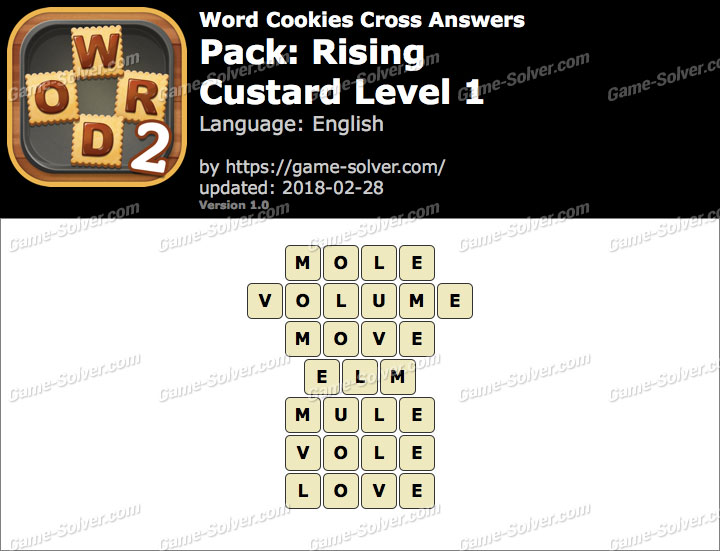 Word Cookies Cross Rising-Custard Level 1 Answers