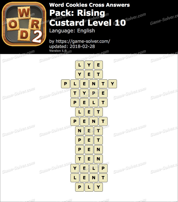 Word Cookies Cross Rising-Custard Level 10 Answers