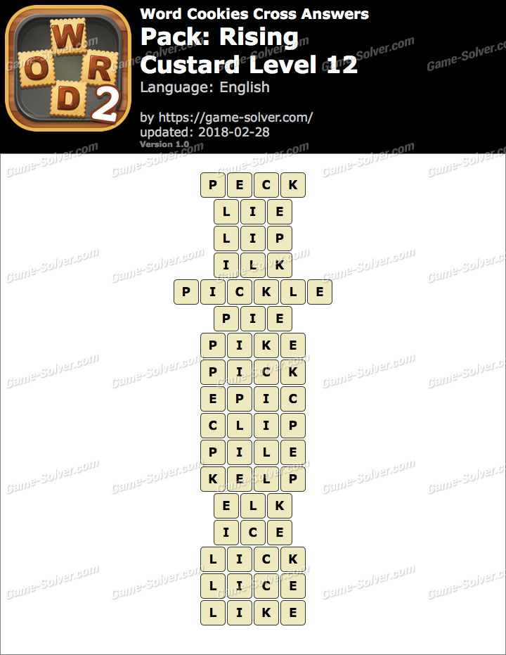 Word Cookies Cross Rising-Custard Level 12 Answers