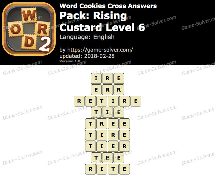 Word Cookies Cross Rising-Custard Level 6 Answers
