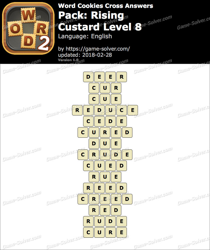 Word Cookies Cross Rising-Custard Level 8 Answers