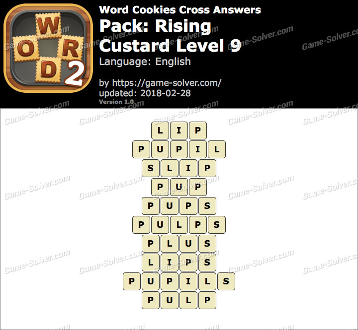 Word Cookies Cross Rising-Custard Level 9 Answers