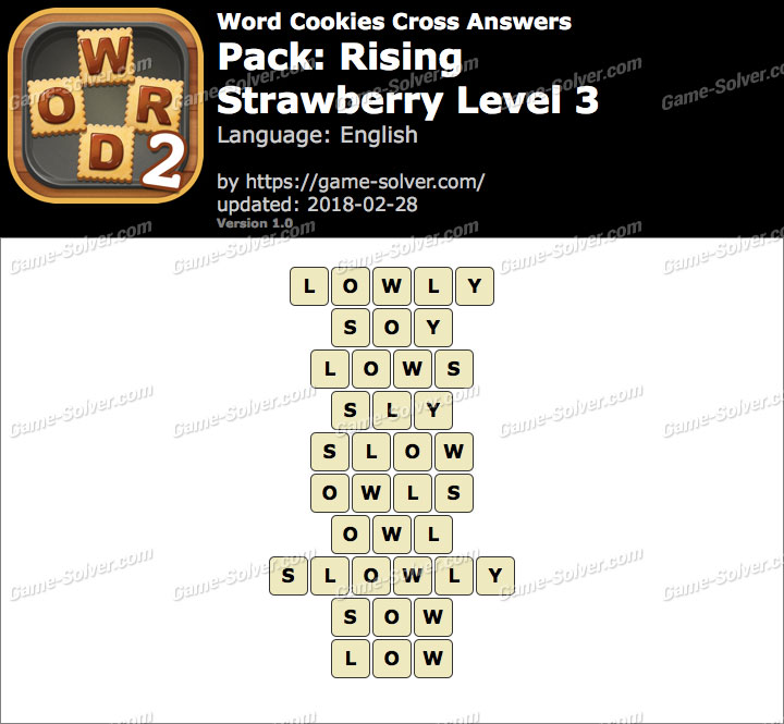 Word Cookies Cross Rising-Strawberry Level 3 Answers