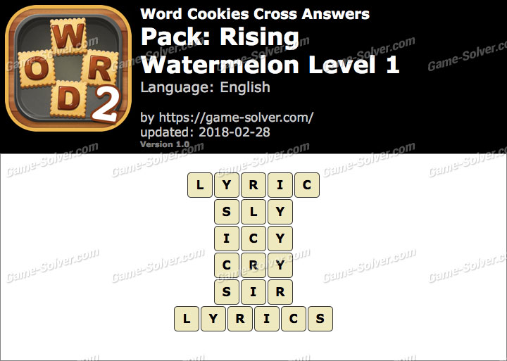 Word Cookies Cross Rising-Watermelon Level 1 Answers