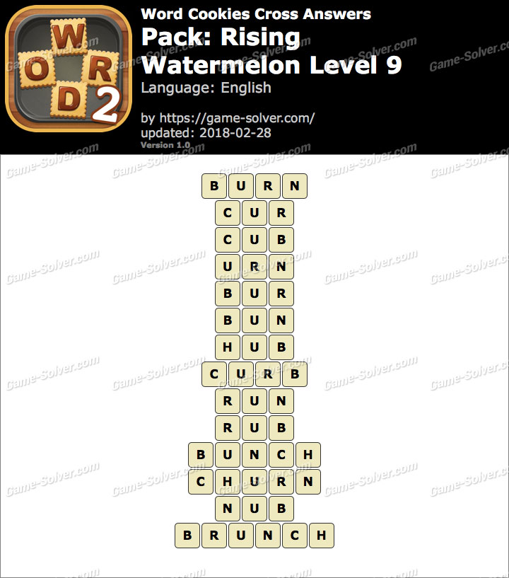 Word Cookies Cross Rising-Watermelon Level 9 Answers