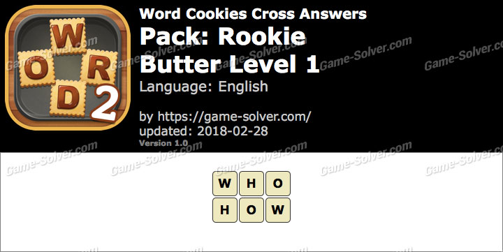 Word Cookies Cross Rookie-Butter Level 1 Answers