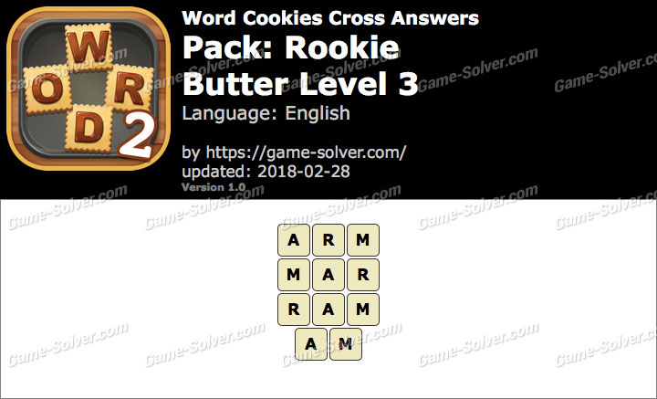 Word Cookies Cross Rookie-Butter Level 3 Answers