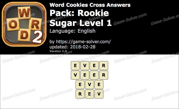 Word Cookies Cross Rookie-Sugar Level 1 Answers