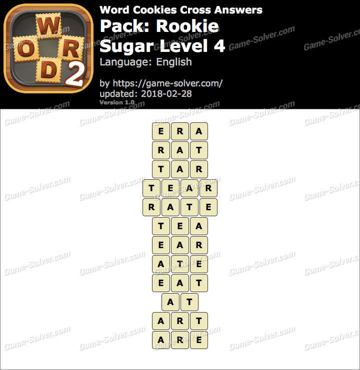 Word Cookies Cross Rookie-Sugar Level 4 Answers