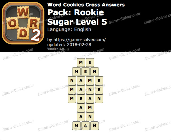 Word Cookies Cross Rookie-Sugar Level 5 Answers