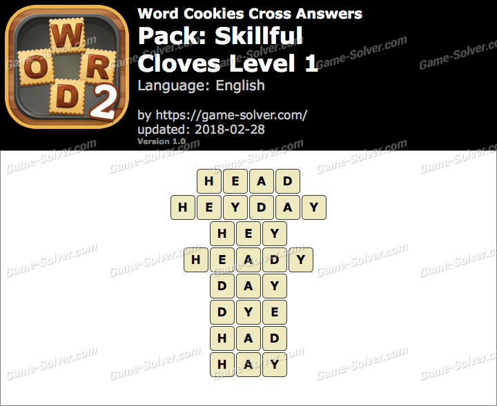 Word Cookies Cross Skillful-Cloves Level 1 Answers
