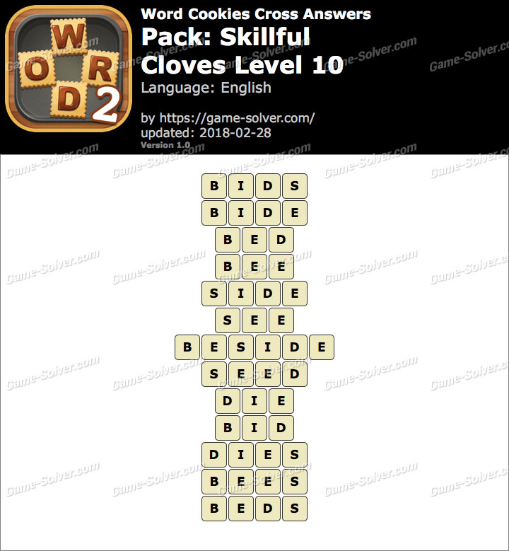 Word Cookies Cross Skillful-Cloves Level 10 Answers