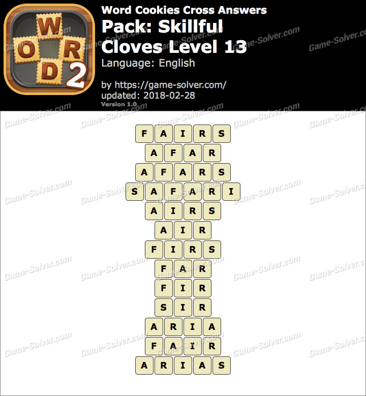 Word Cookies Cross Skillful-Cloves Level 13 Answers