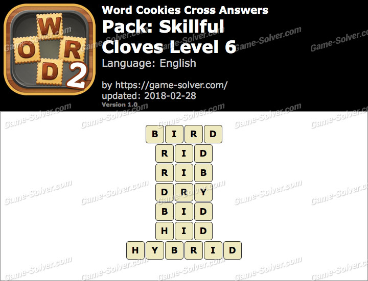 Word Cookies Cross Skillful-Cloves Level 6 Answers