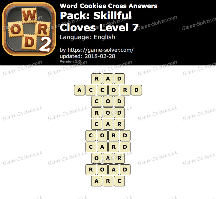 Word Cookies Cross Skillful-Cloves Level 7 Answers