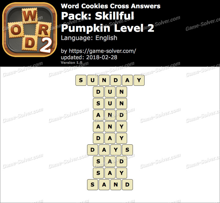 Word Cookies Cross Skillful-Pumpkin Level 2 Answers