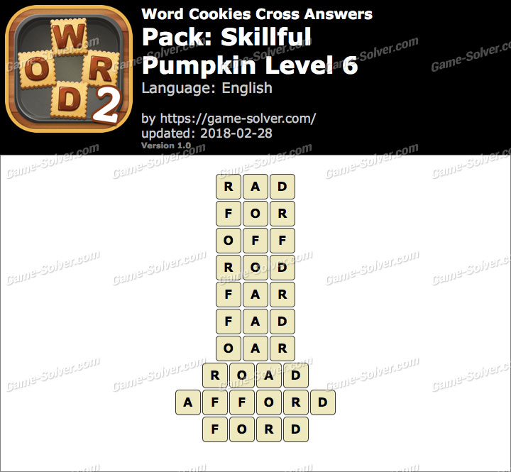 Word Cookies Cross Skillful-Pumpkin Level 6 Answers
