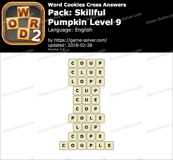 Word Cookies Cross Skillful-Pumpkin Level 9 Answers