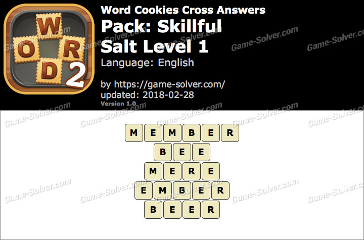 Word Cookies Cross Skillful-Salt Level 1 Answers