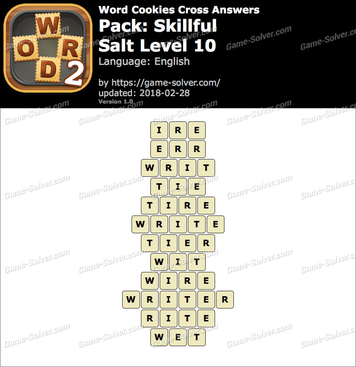 Word Cookies Cross Skillful-Salt Level 10 Answers