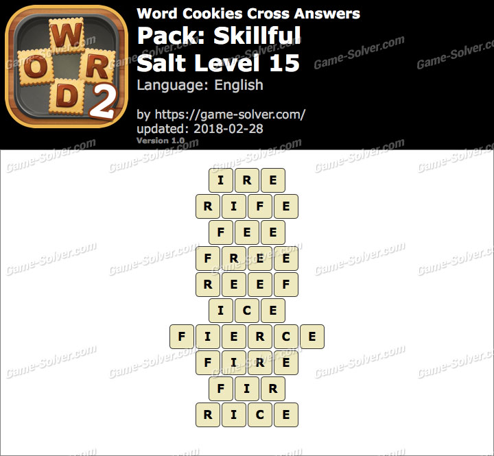 Word Cookies Cross Skillful-Salt Level 15 Answers