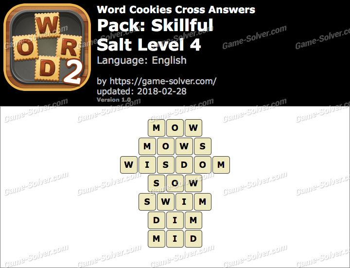 Word Cookies Cross Skillful-Salt Level 4 Answers