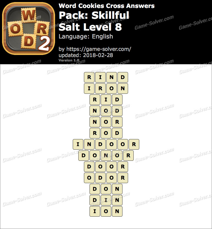 Word Cookies Cross Skillful-Salt Level 8 Answers