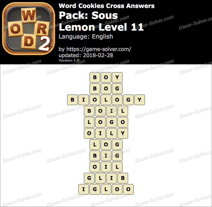 Word Cookies Cross Sous-Lemon Level 11 Answers