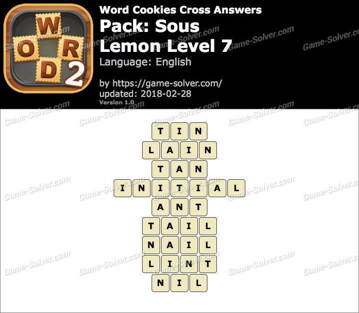 Word Cookies Cross Sous-Lemon Level 7 Answers