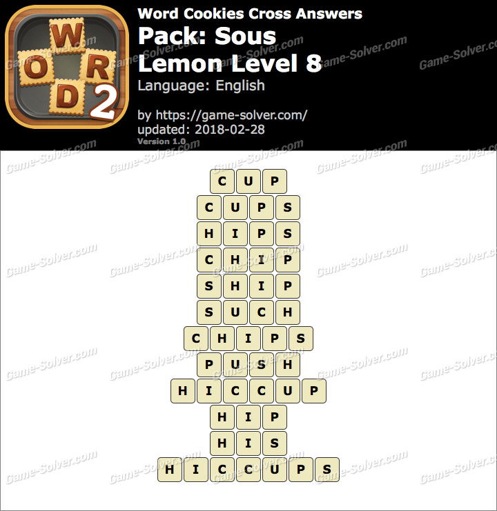 Word Cookies Cross Sous-Lemon Level 8 Answers