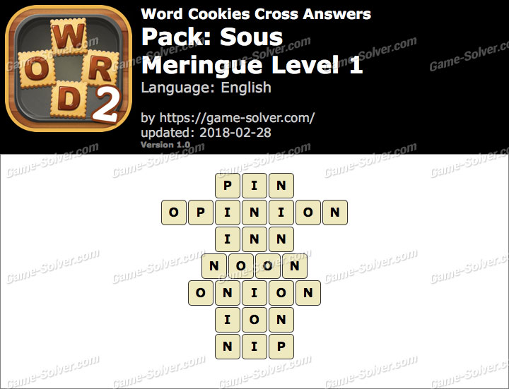 Word Cookies Cross Sous-Meringue Level 1 Answers