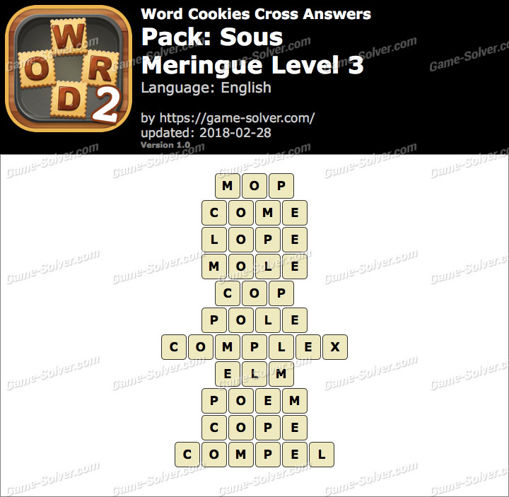 Word Cookies Cross Sous-Meringue Level 3 Answers