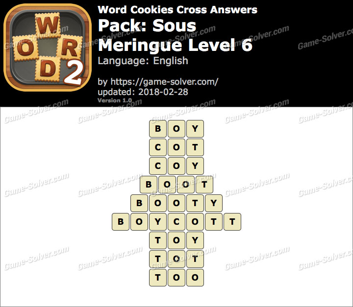 Word Cookies Cross Sous-Meringue Level 6 Answers
