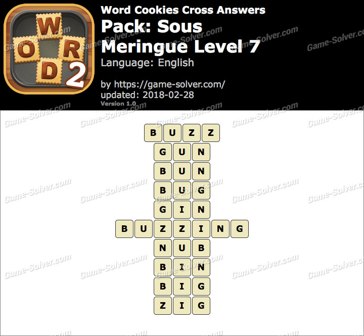 Word Cookies Cross Sous-Meringue Level 7 Answers