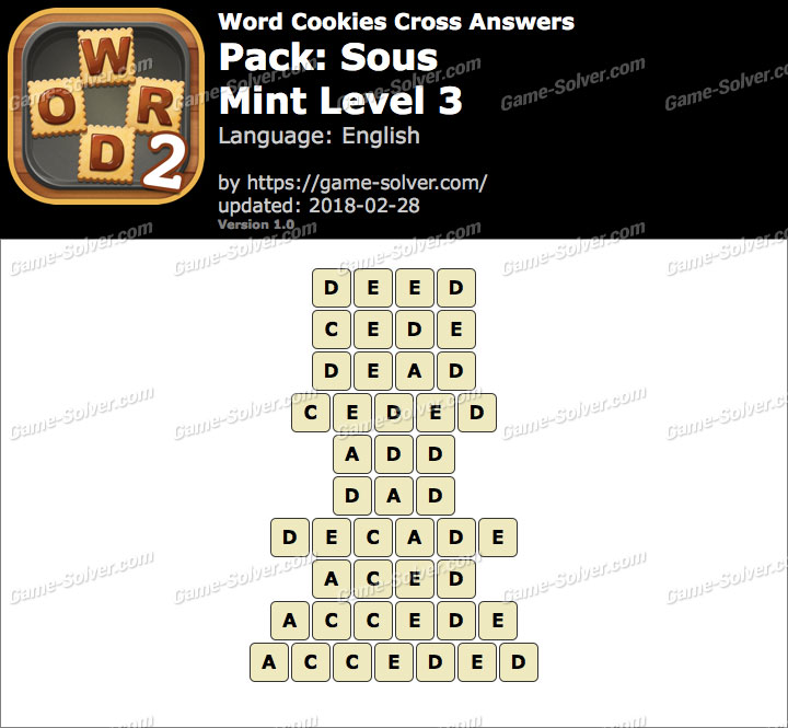 Word Cookies Cross Sous-Mint Level 3 Answers