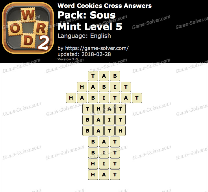 Word Cookies Cross Sous-Mint Level 5 Answers