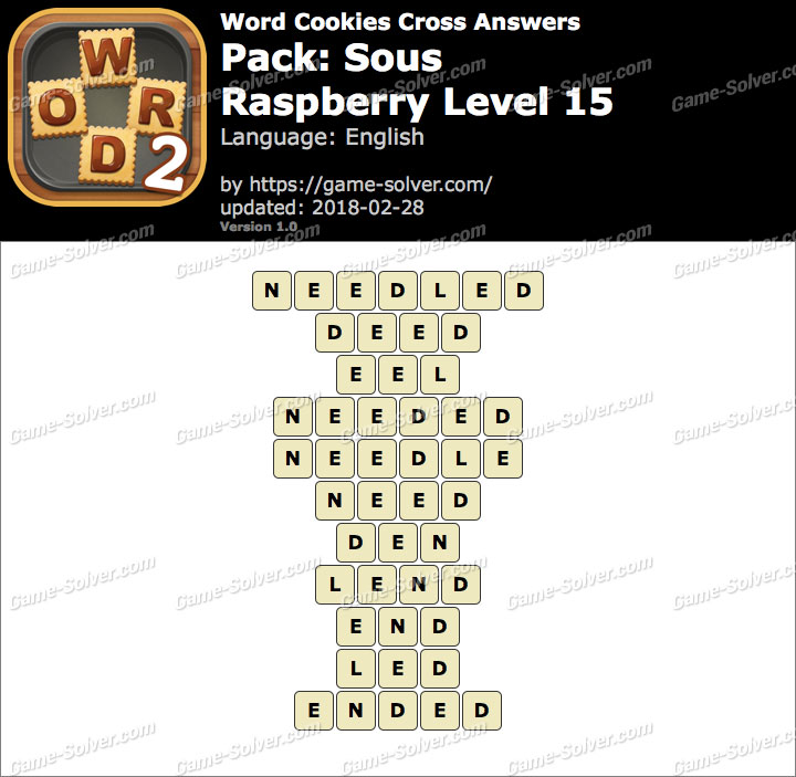 Word Cookies Cross Sous-Raspberry Level 15 Answers