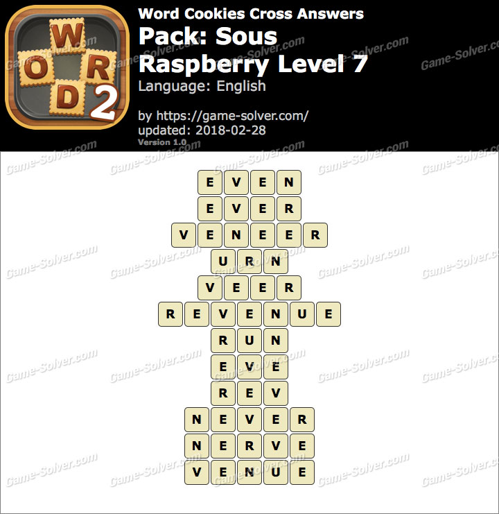 Word Cookies Cross Sous-Raspberry Level 7 Answers