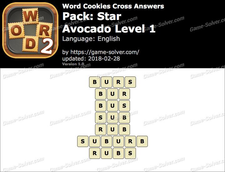 Word Cookies Cross Star-Avocado Level 1 Answers