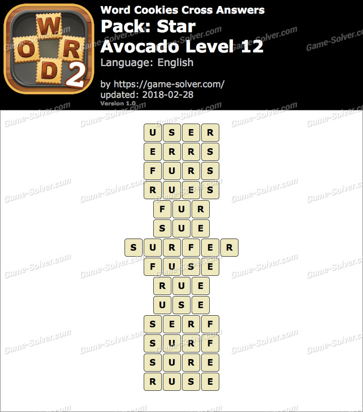 Word Cookies Cross Star-Avocado Level 12 Answers