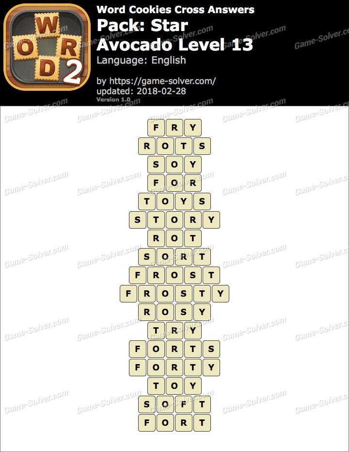 Word Cookies Cross Star-Avocado Level 13 Answers