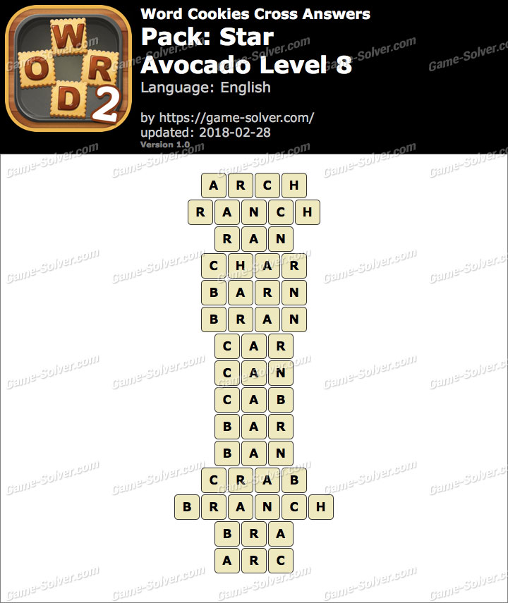 Word Cookies Cross Star-Avocado Level 8 Answers