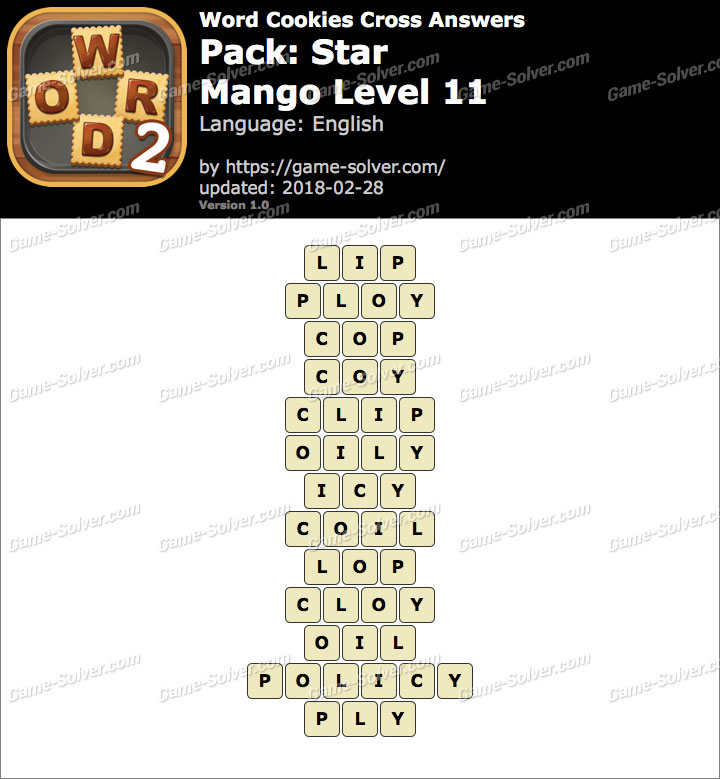 Word Cookies Cross Star-Mango Level 11 Answers