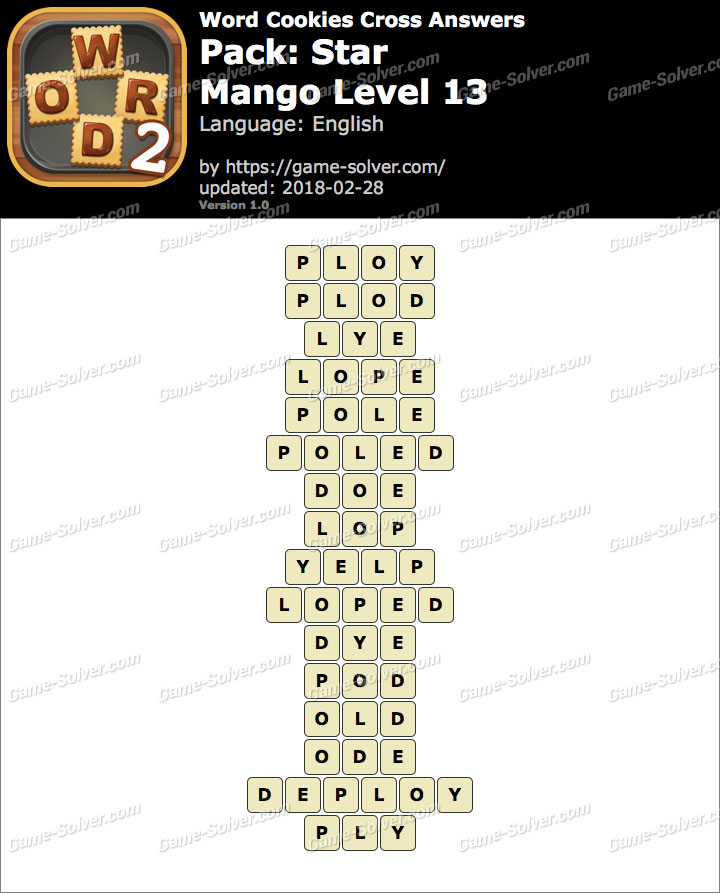 Word Cookies Cross Star-Mango Level 13 Answers