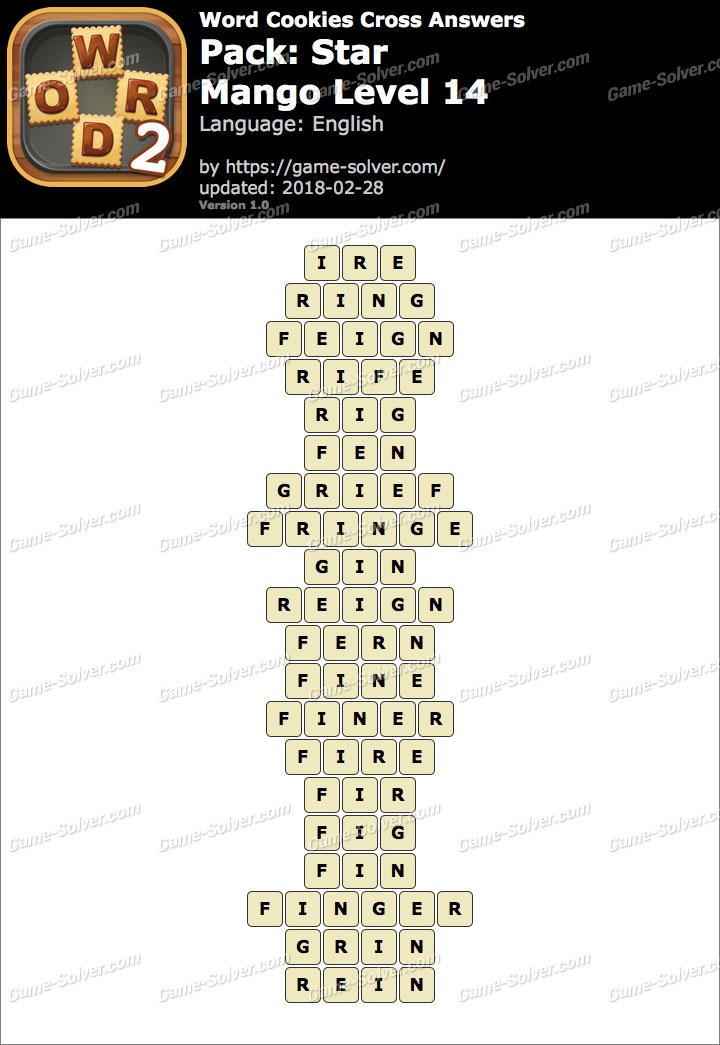 Word Cookies Cross Star-Mango Level 14 Answers