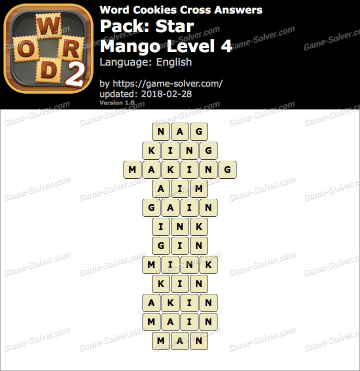 Word Cookies Cross Star-Mango Level 4 Answers