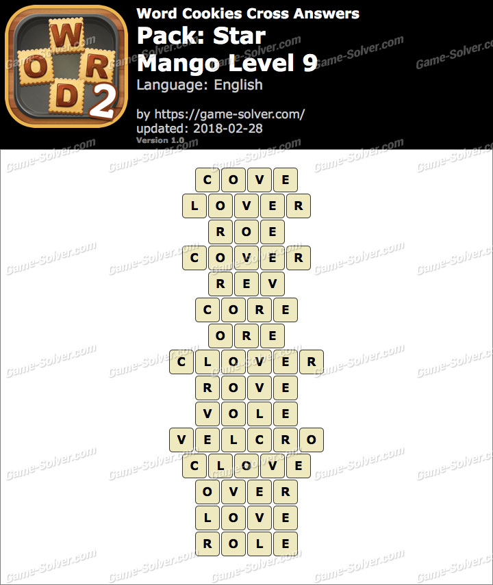 Word Cookies Cross Star-Mango Level 9 Answers